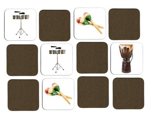 Jeu de mémoire en bois : Timbales, maracas, gong, balafon, djembé, taiko