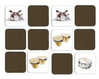 Jeu de mémoire en bois : Batterie, congas, bongos, grosse caisse, caisse claire, cymbales
