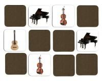 Jeu de mémoire en bois : Piano, guitare classique, guitare électrique, contrebasse, violon, violoncelle
