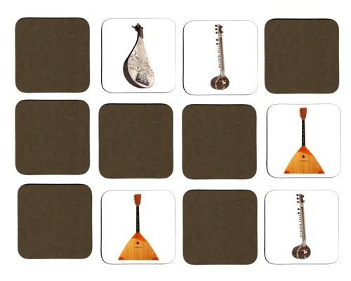 Jeu de mémoire en bois : Balalaïka, sitar, pipa, erhu, guzheng, jouhikko