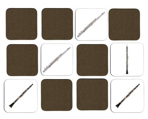 Jeu de mémoire en bois : Flûte traversière, clarinette, hautbois, piccolo, flûte de Pan, ocarina