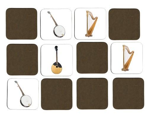 Jeu de mémoire en bois : Harpe, banjo, mandoline, psaltérion, cithare, viole de gambe