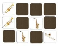 Jeu de mémoire en bois : Trombone, trompette, saxophone, basson, clarinette basse, tuba