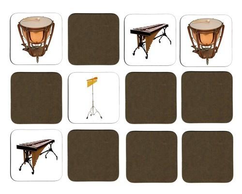 Jeu de mémoire en bois : Castagnettes, cloches tubulaires, tambourin, marimba, timbale, triangle