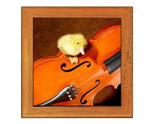 Dessous de plat : Caneton sur un violon