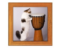 Dessous de plat : Chat jouant du djembé