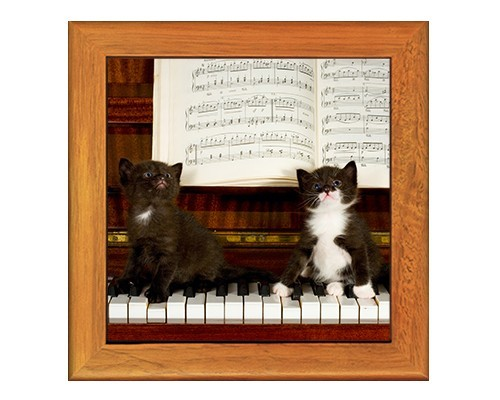 Dessous de plat : 2 chats sur un piano