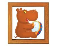Dessous de plat : Hippopotame percussioniste