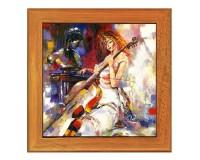 Dessous de plat : Peinture d'une violoncelliste