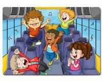 Planche à découper en verre : Enfants dans un bus