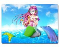 Planche à découper en verre : Sirène avec un dauphin