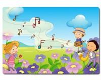 Planche à découper en verre : Musiciens sur des fleurs