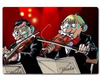 Planche à découper en verre : 2 violonistes