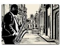 Planche à découper en verre : Dessin d'un saxophoniste