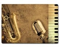 Planche à découper en verre : Clavier, saxophone, micro