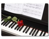 Planche à découper en verre : Piano, rose, partition