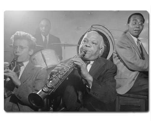 Planche à découper en verre : Portrait de Sidney Bechet, Freddie Moore, et Lloyd Phillips