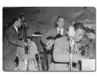 Planche à découper en verre : Portrait de Wesley Prince, Oscar Moore, et Nat King Cole