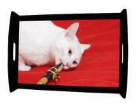 Plateau repas en bois : Chat saxophoniste
