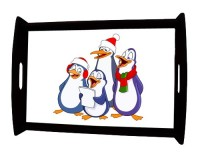 Grand plateau repas en bois : Chorale de pingouins