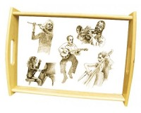 Grand plateau repas en bois : Dessin de musiciens