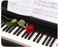 Tapis de souris 23 cm x 19 cm : Piano, rose, partition