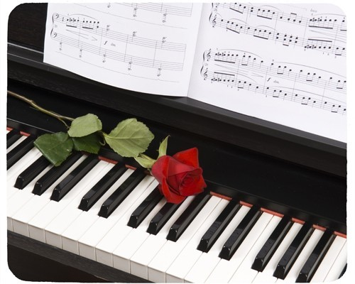 Tapis de souris 23 cm x 19 cm : Piano, rose, partition