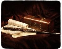 Tapis de souris 23 cm x 19 cm : Coffret, flûte, partitions