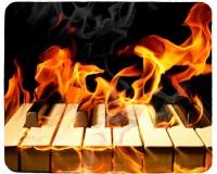 Tapis de souris 23 cm x 19 cm : Clavier de piano en feu