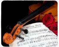 Tapis de souris 23 cm x 19 cm : Violon, roses, partition
