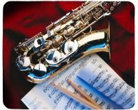 Tapis de souris 23 cm x 19 cm : Saxophone, baguettes, partition
