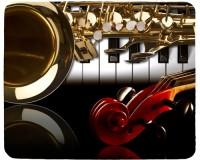 Tapis de souris 23 cm x 19 cm : Saxophone, piano, volute