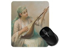 Tapis de souris 23 cm x 19 cm : Femme jouant d'un instrument à cordes par Fausto Zonaro