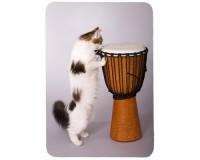 Tapis de souris 27 cm x 20 cm : Chat jouant du djembe