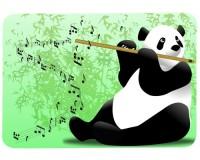 Tapis de souris 27 cm x 20 cm : Panda flûtiste