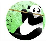 Tapis de souris rond : Panda flûtiste