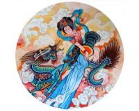 Tapis de souris rond : Peinture traditionnelle chinoise représentant une percussionniste