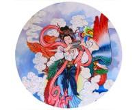 Tapis de souris rond : Peinture traditionnelle chinoise représentant une flûtiste