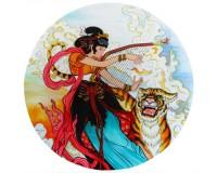 Tapis de souris rond : Peinture traditionnelle chinoise représentant une harpiste