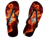 Tongs Squelette guitariste en feu
