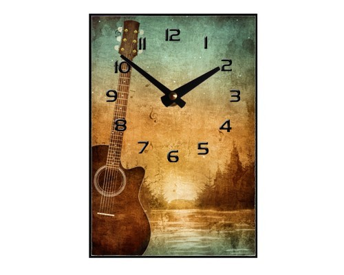 Horloge Guitare devant paysage