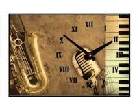 Horloge Saxophone, micro, clavier de piano