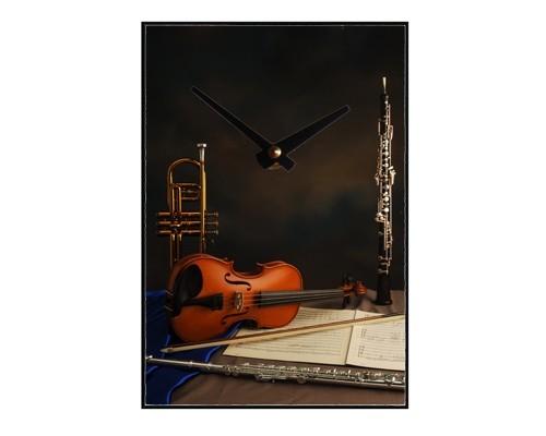 Horloge Trompette, violon, flûte, hautbois, partition