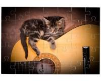 Puzzle Chaton sur une guitare