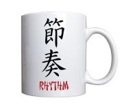 Mug Musique et Rythme écrit en anglais et en kanji (japonais)