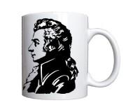 Mug Mozart : Signature et portrait en noir et blanc