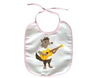 Bavoir Loup avec une guitare