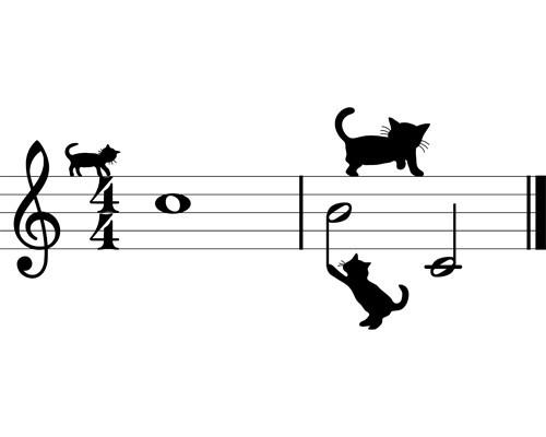Sticker 3 chats sur une portée