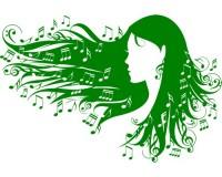 Sticker Visage de fille avec notes de musique dans les cheveux