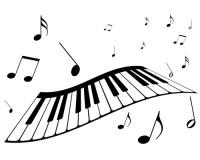 Sticker Clavier de piano avec notes de musique